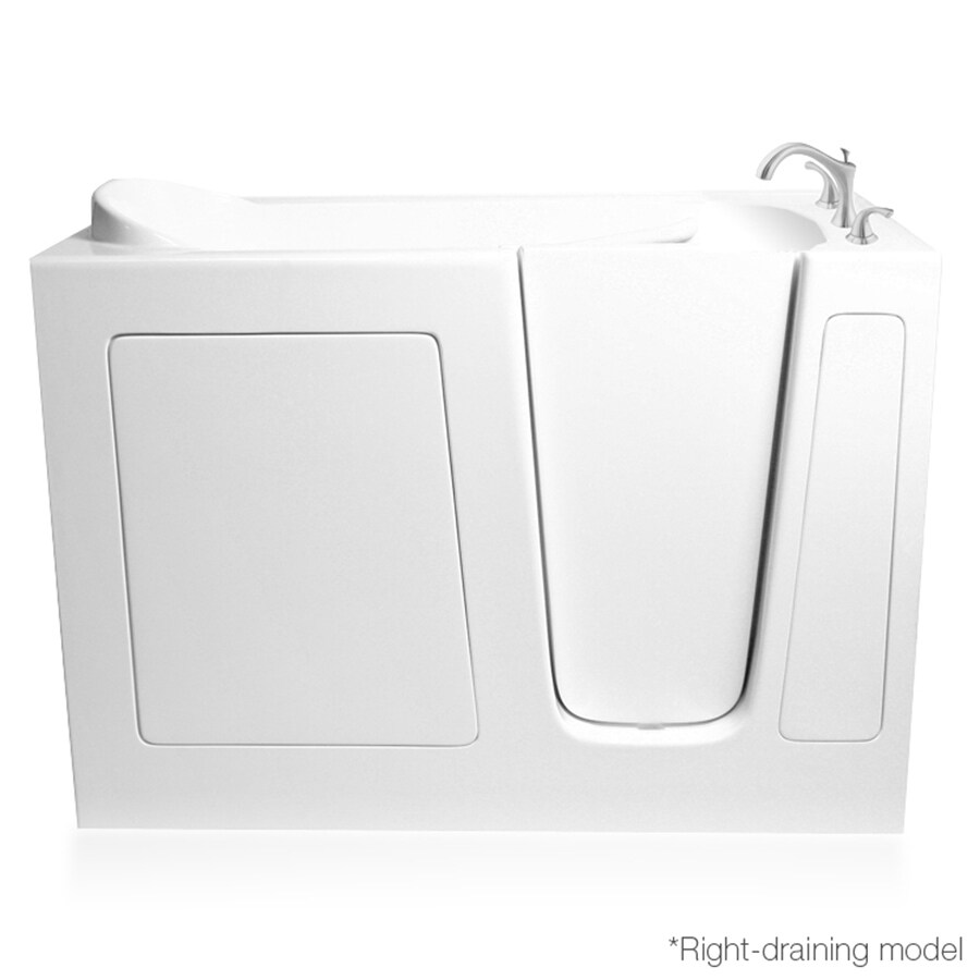 ARIEL White Gelcoat and Fiberglass Rectangular Walk-In Bathtub with Right-Hand Drain (Common: 26-in x 51-in; Actual: 38-in x 26-in x 51-in)