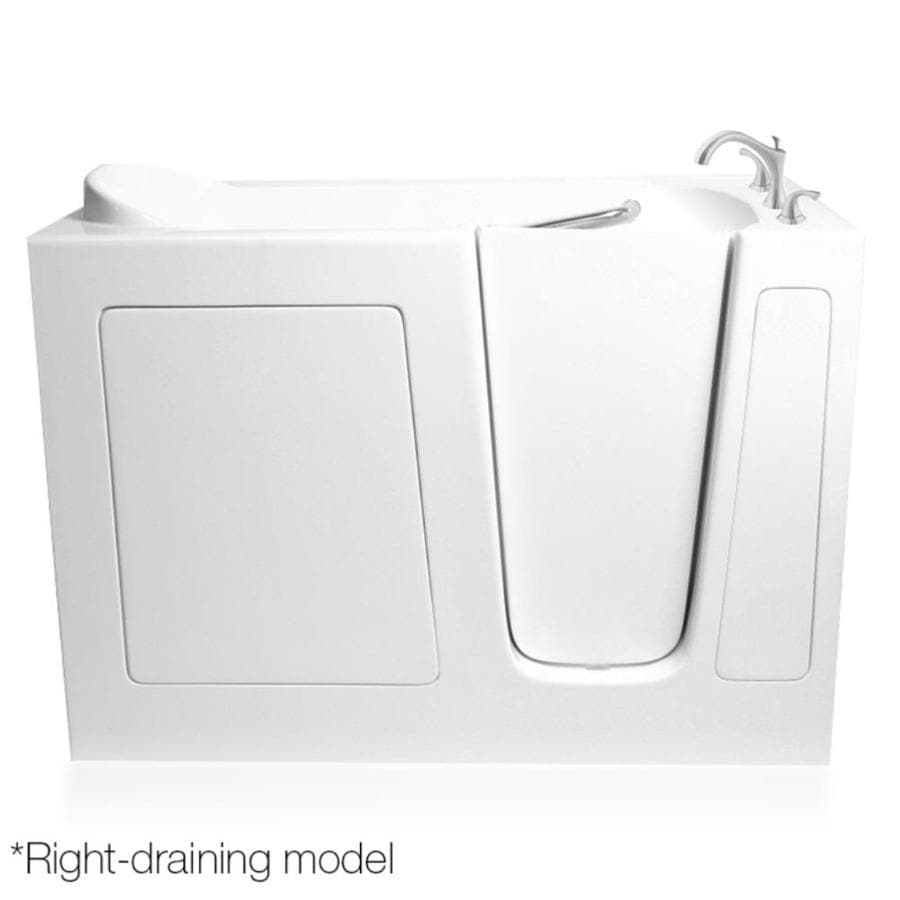 ARIEL White Gelcoat and Fiberglass Rectangular Walk-In Bathtub with Right-Hand Drain (Common: 30-in x 60-in; Actual: 38-in x 29.75-in x 59.5-in)