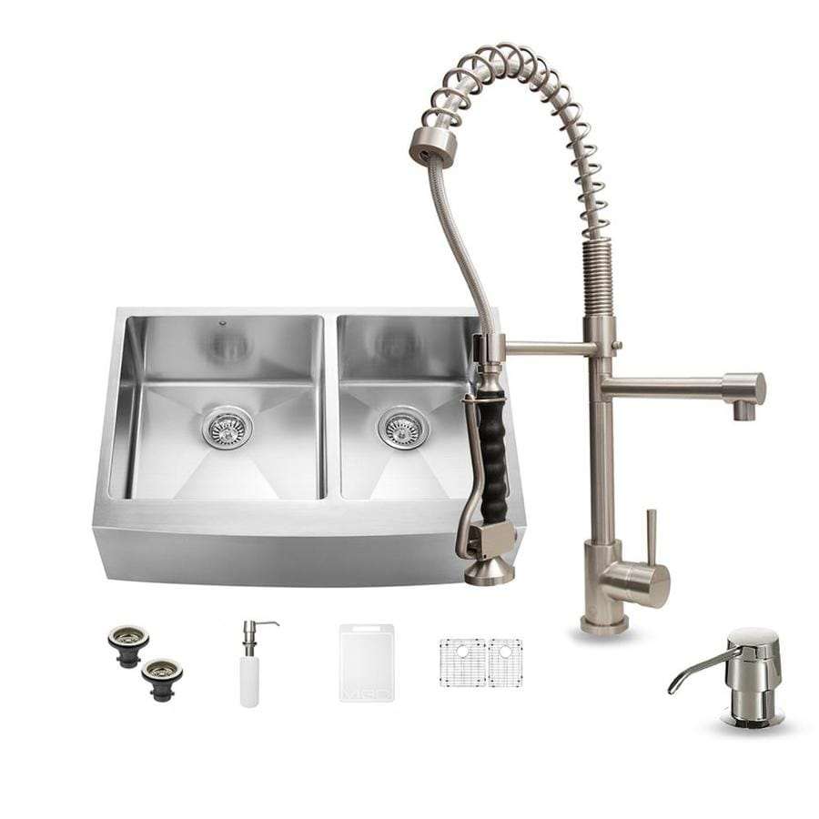 25 Farm Sink Of Kitchen Lowes Double Chrome Kitchen Sink: Shop VIGO 33-in X 22.25-in Stainless Steel Double-Basin
