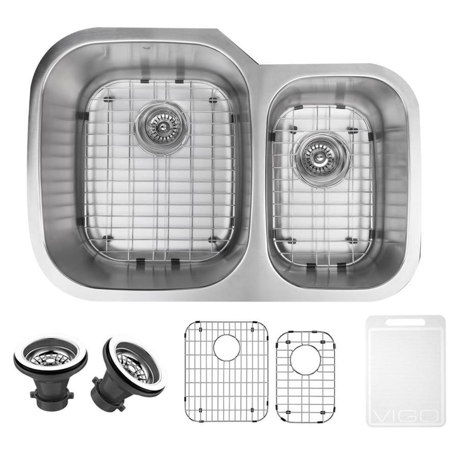 VIGO 29.5-in x 20.75-in Stainless Steel Double-Basin Undermount Commercial Kitchen Sink
