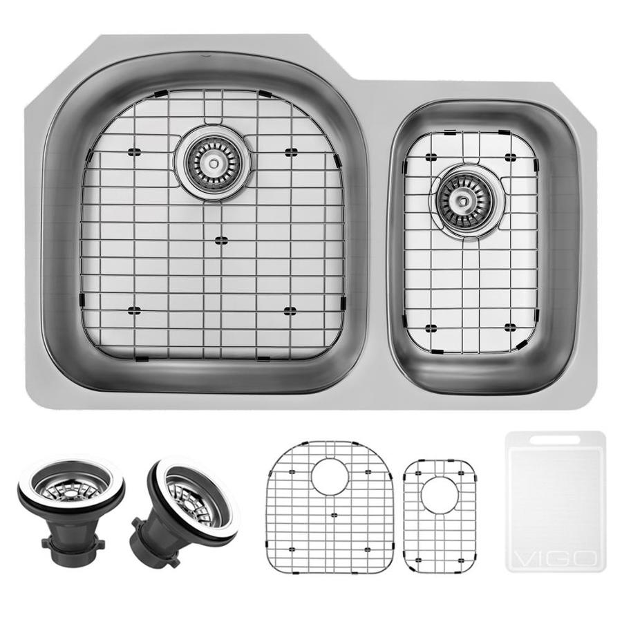 VIGO 31.5-in x 20.5-in Stainless Steel Double-Basin Undermount Commercial Kitchen Sink