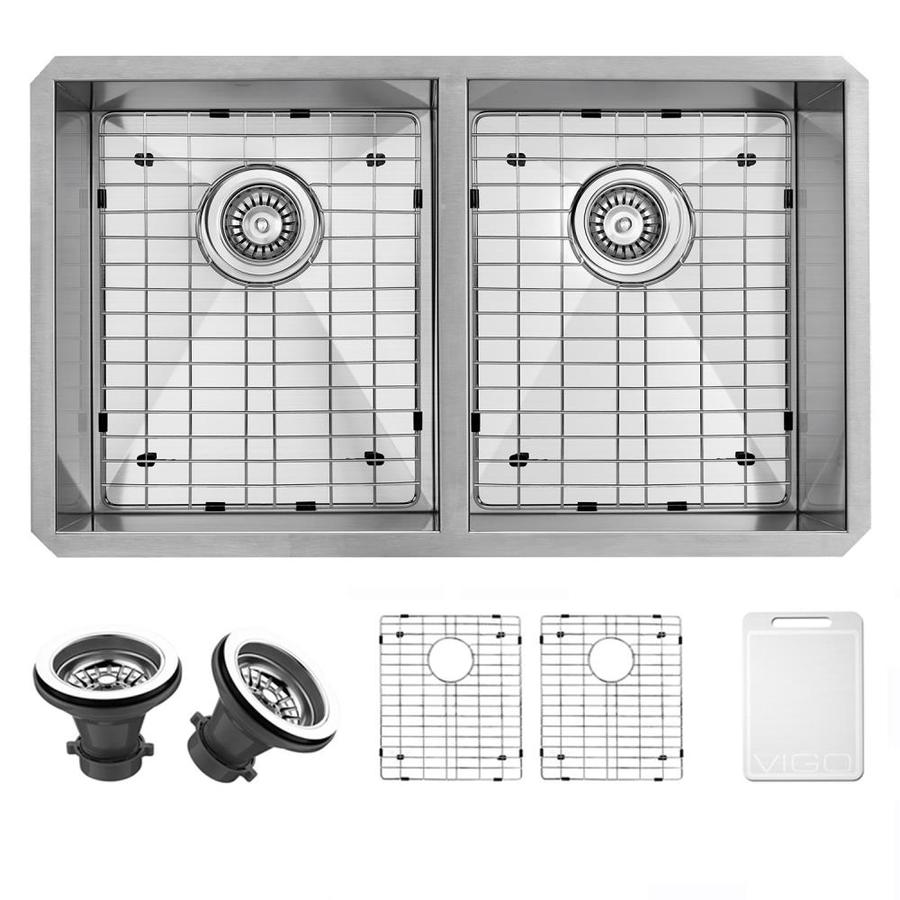VIGO 32-in x 19-in Stainless Steel Double-Basin Undermount Commercial Kitchen Sink