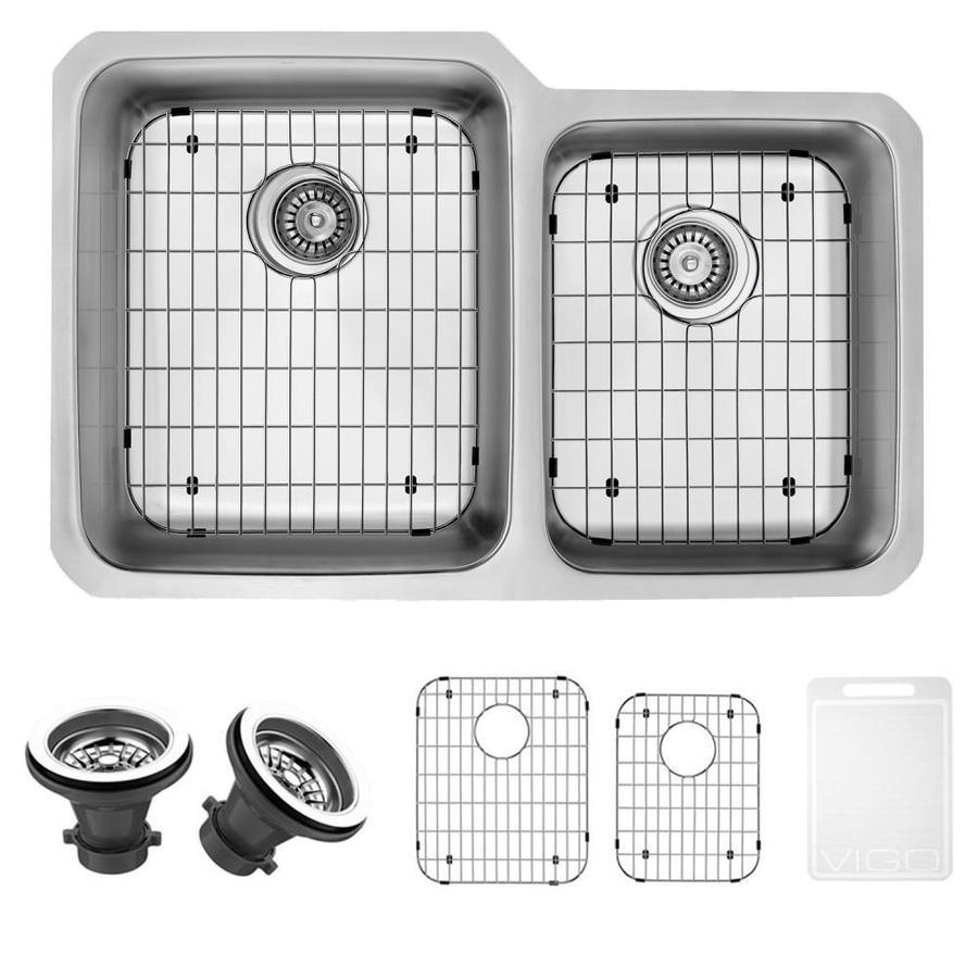 VIGO 32-in x 20.75-in Stainless Steel Double-Basin Undermount Commercial Kitchen Sink