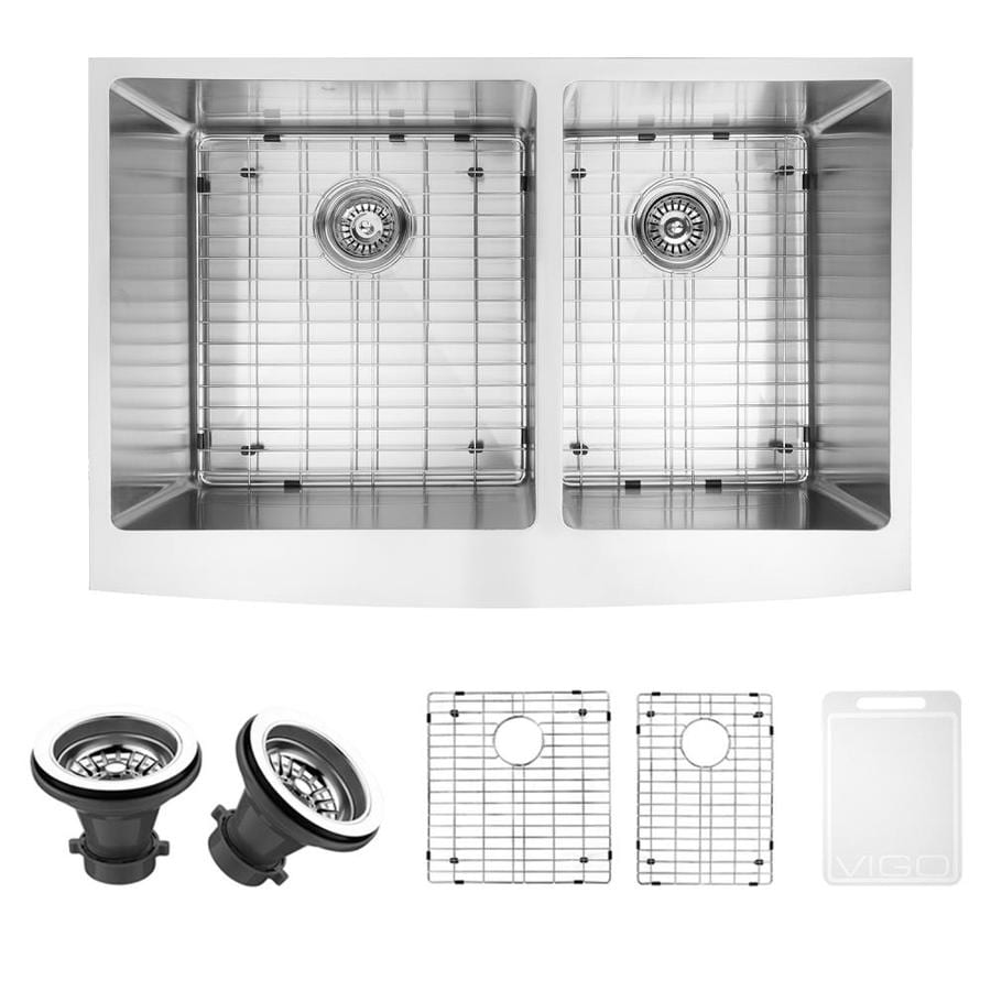 VIGO 33-in x 22.25-in Stainless Steel Double-Basin Apron Front/Farmhouse Commercial Kitchen Sink