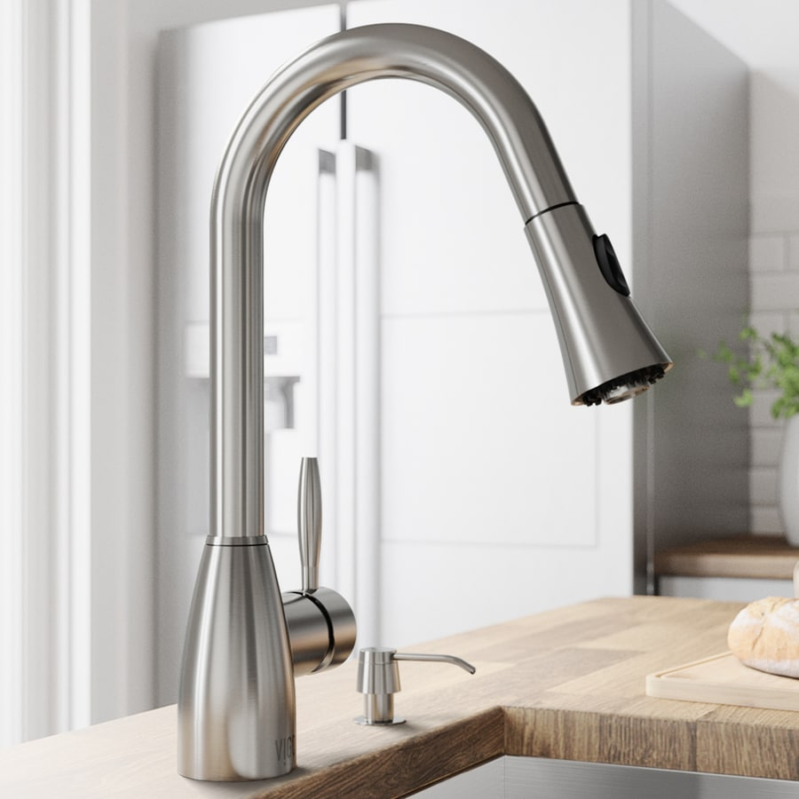 Shop Vigo Stainless Steel 1 Handle Pull Out Kitchen Faucet At Lowes Com