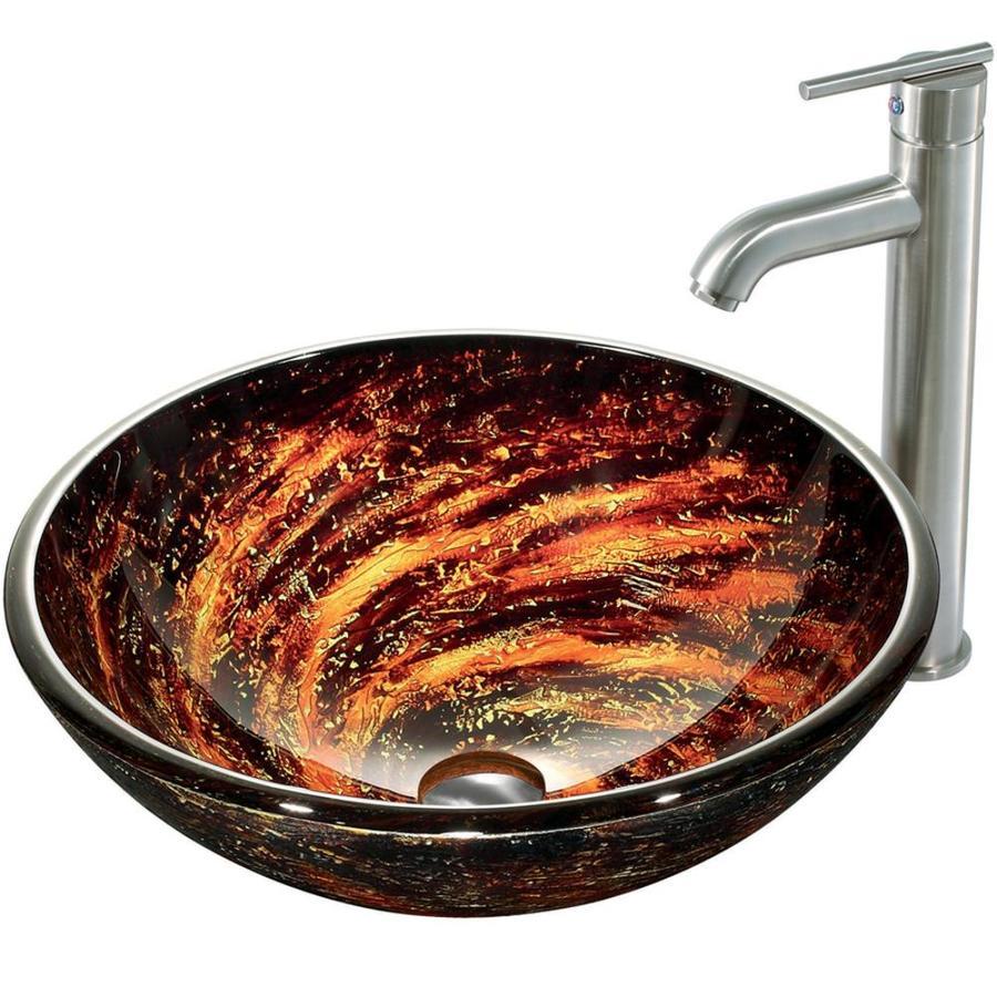 VIGO Brown Glass Vessel Bathroom Sink with Faucet (Drain Included)