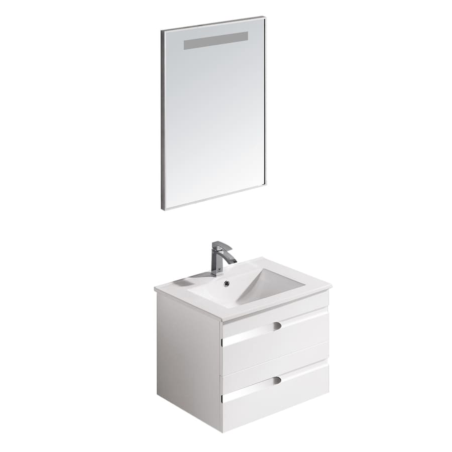 VIGO White Gloss Drop-in Single Sink Bathroom Vanity with Vitreous China Top (Mirror Included) (Common: 24-in x 18-in; Actual: 24-in x 18.375-in)