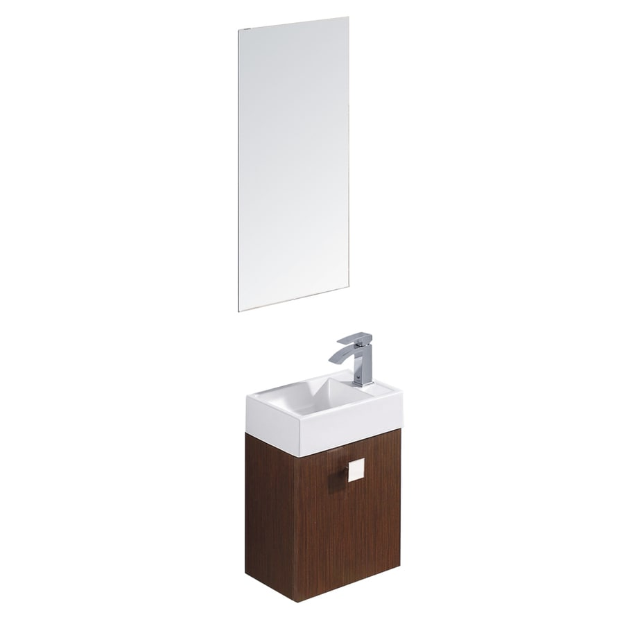 VIGO Wenge Drop-in Single Sink Bathroom Vanity with Vitreous China Top (Mirror Included) (Common: 15-in x 10-in; Actual: 15.75-in x 10.75-in)