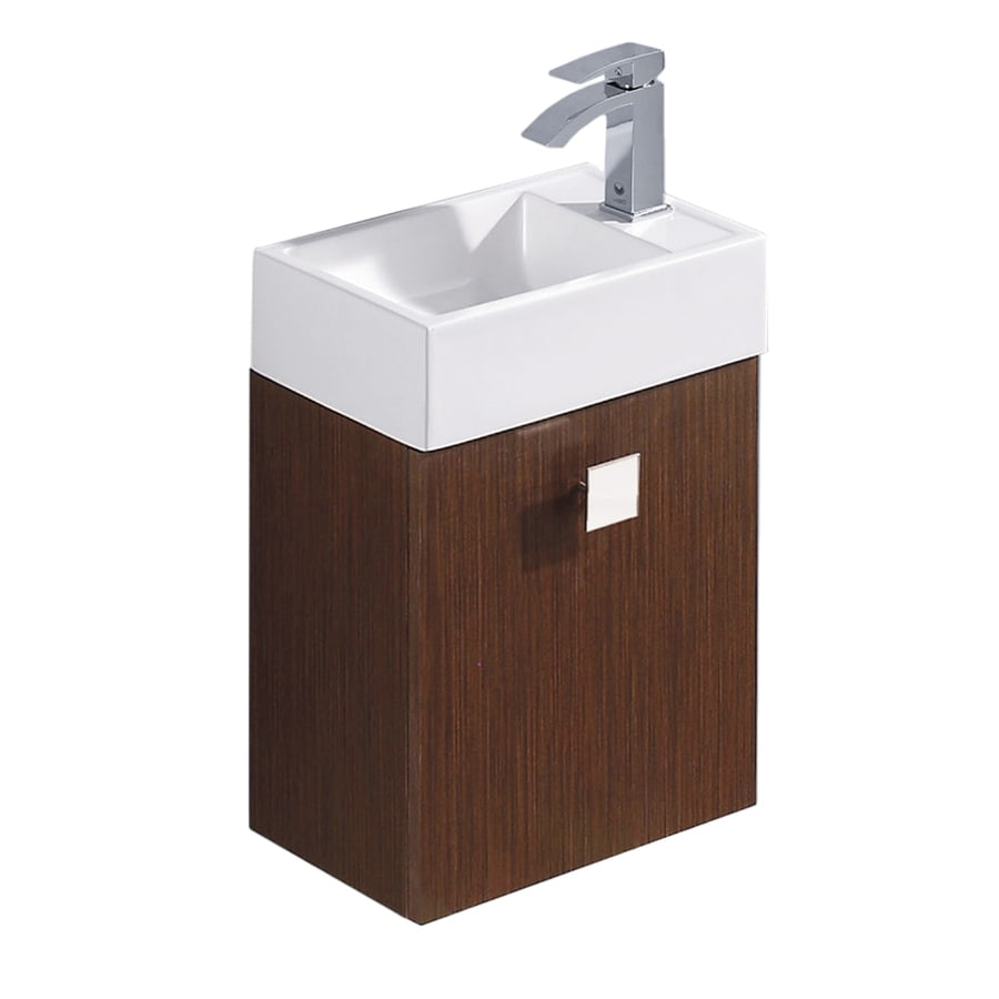 VIGO Wenge Drop-in Single Sink Bathroom Vanity with Vitreous China Top (Common: 15-in x 10-in; Actual: 15.75-in x 10.75-in)