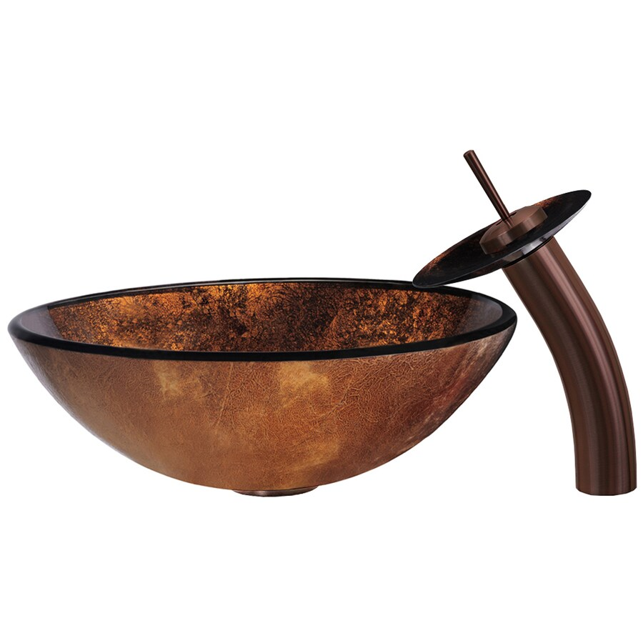 Shop VIGO Vessel Sink & Faucet Set Copper Glass Vessel