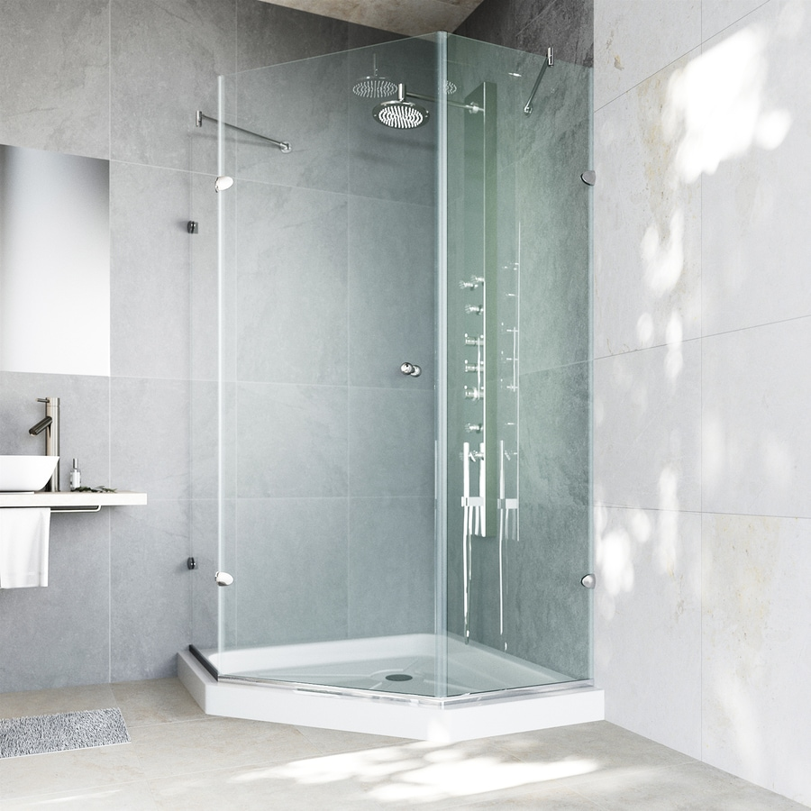 VIGO Neo-Angle Shower Enclosure 62-in W x 76-3/4-in H Frameless Neo-Angle Shower Door