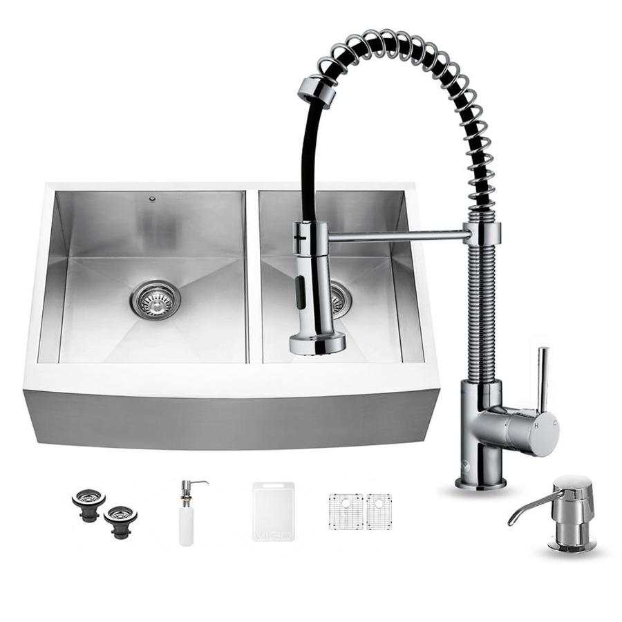 Shop Vigo 33 In X Stainless Steel Double Basin