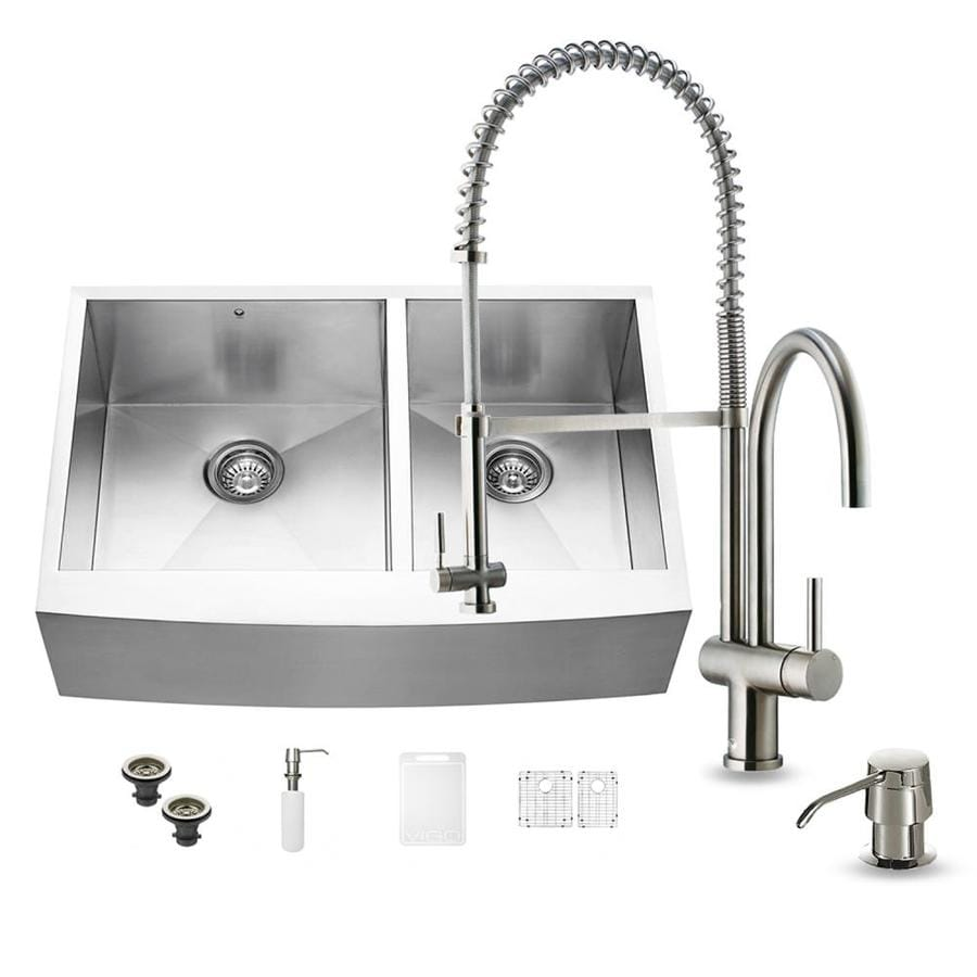 VIGO 33-in x 22.25-in Stainless Steel Double-Basin Apron Front/Farmhouse Commercial Kitchen Sink All-In-One Kit