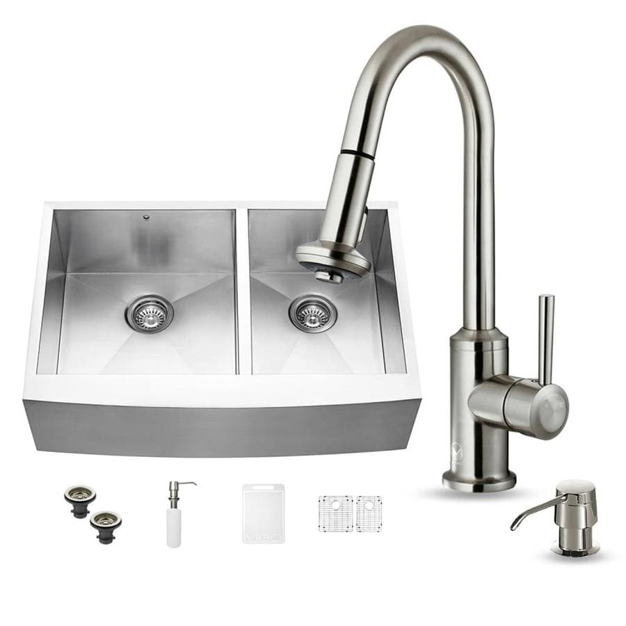 VIGO 22.25-in x 33-in Stainless Steel Double-Basin Apron Front/Farmhouse Commercial Kitchen Sink All-In-One Kit