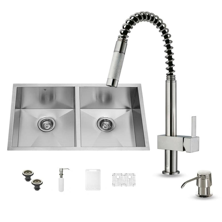 VIGO 19-in x 32-in Stainless Steel Double-Basin Undermount Commercial Kitchen Sink All-In-One Kit