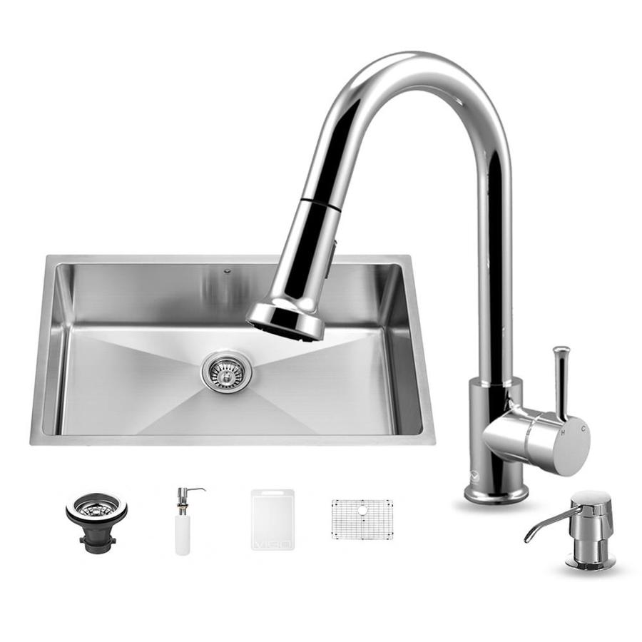 VIGO 32-in x 19-in Stainless Steel Single-Basin Undermount Commercial Kitchen Sink All-In-One Kit