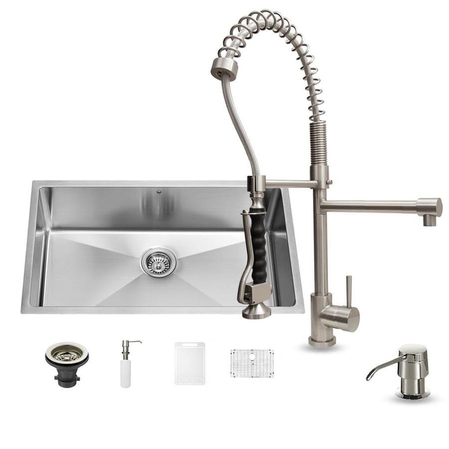 Shop Vigo 32 In X 19 In Stainless Steel Single Basin Undermount Commercial Kitchen Sink All In