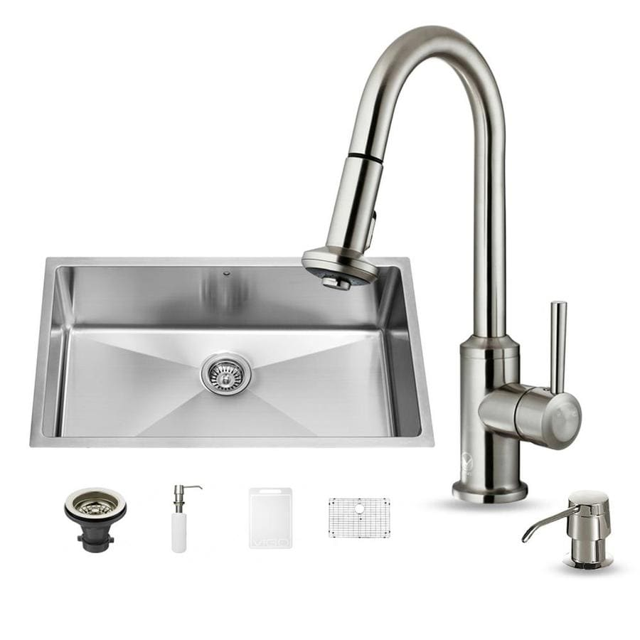 VIGO 19-in x 32-in Stainless Steel Single-Basin Undermount Commercial Kitchen Sink All-In-One Kit