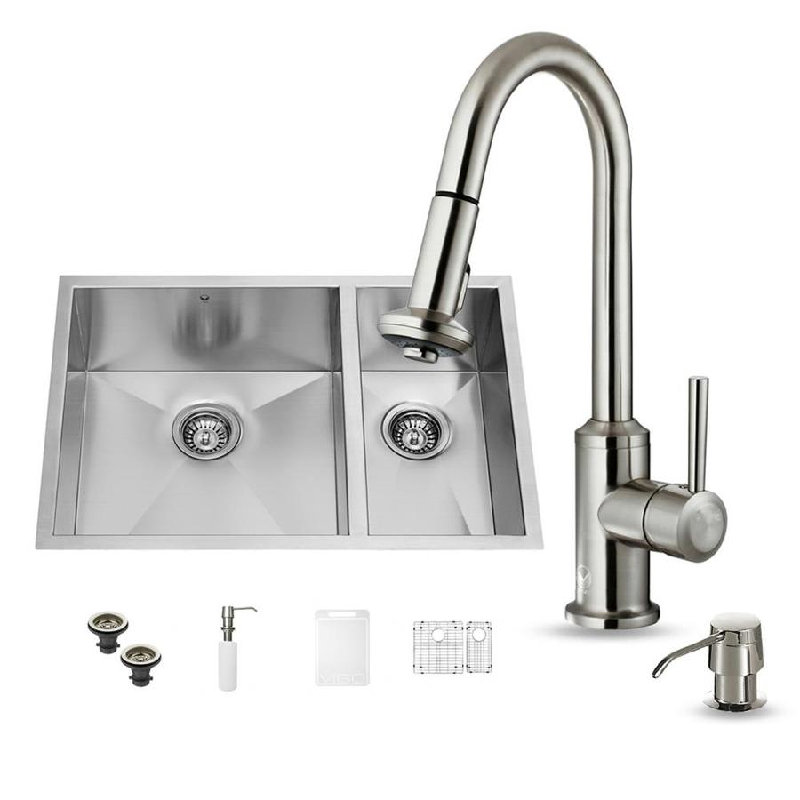 Shop Vigo 29 In X 20 In Stainless Steel Double Basin Undermount Commercial Kitchen Sink All In