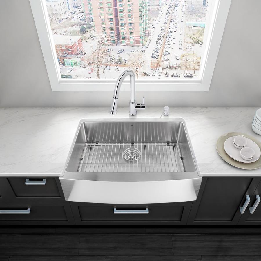 VIGO 33-in x 22.25-in Stainless Steel Single-Basin Apron Front/Farmhouse Commercial Kitchen Sink All-In-One Kit