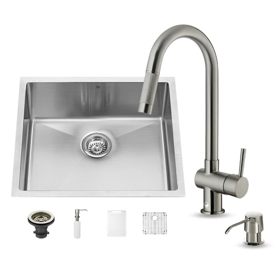 VIGO 23-in x 20-in Stainless Steel Single-Basin Undermount Commercial Kitchen Sink All-In-One Kit