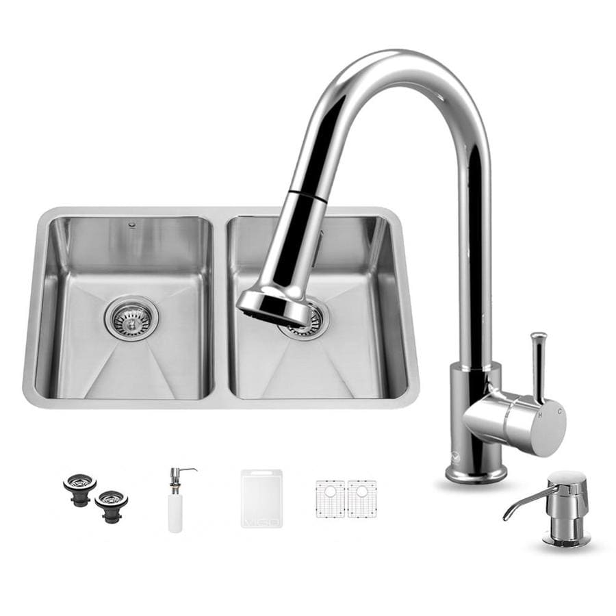 VIGO 29.25-in x 18.5-in Stainless Steel Double-Basin Undermount Commercial Kitchen Sink All-In-One Kit