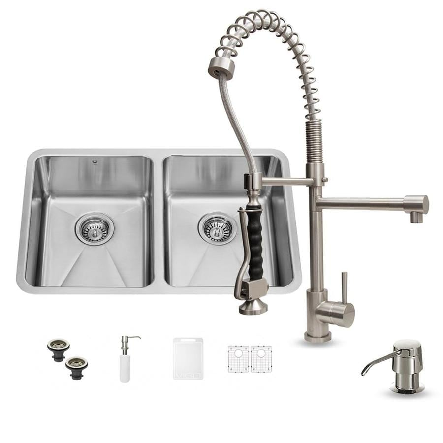Shop vigo x 18 5 in stainless steel double basin undermount commercial residential - Vigo sink accessories ...