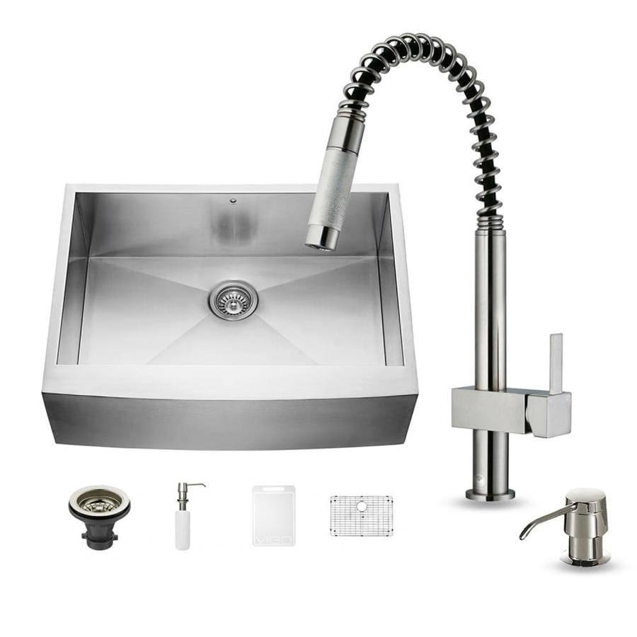 VIGO 30-in x 22.25-in Stainless Steel Single-Basin Apron Front/Farmhouse Commercial Kitchen Sink All-In-One Kit
