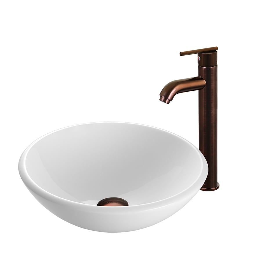 VIGO Vessel Sink & Faucet Set White Glass Vessel Round Bathroom Sink ...
