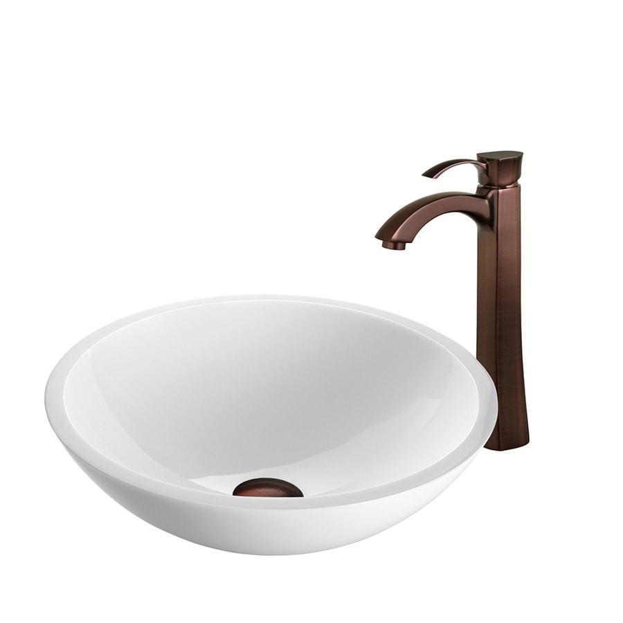 White Vessel Sink : VIGO Vessel Sink & Faucet Set White Glass Vessel Round Bathroom Sink ...