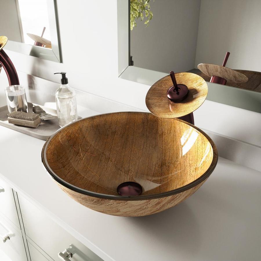 VIGO Vessel Sink & Faucet Set Mahogany Moon Glass Vessel Round Bathroom Sink with Faucet (Drain Included)