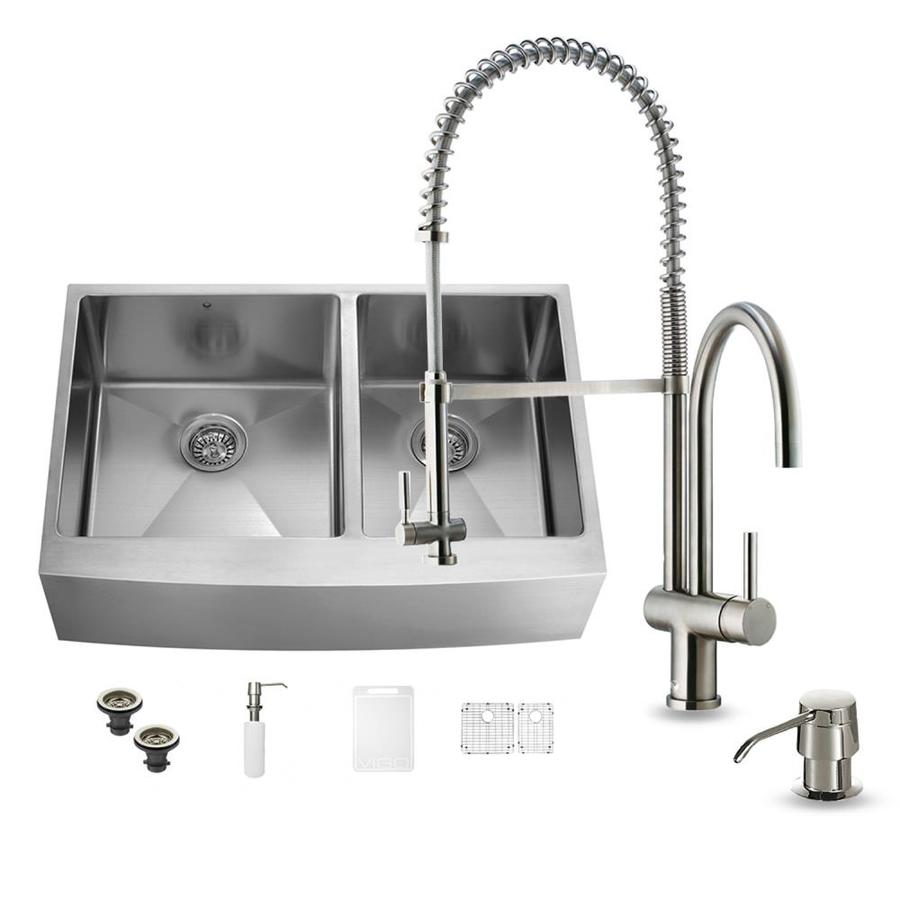 VIGO 36-in x 22.25-in Stainless Steel Double-Basin Apron Front/Farmhouse Commercial Kitchen Sink All-In-One Kit