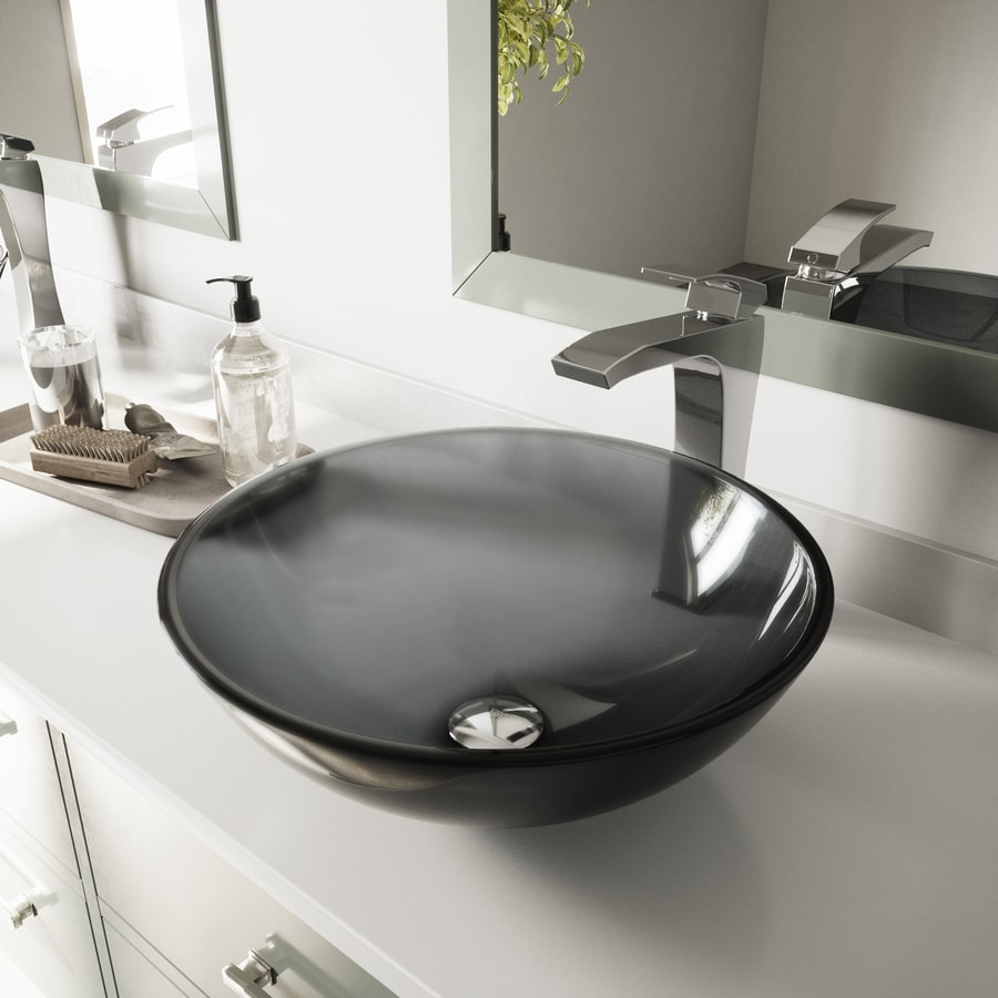 Shop vigo sheer black glass vessel round bathroom sink at for Black vessel bathroom sink