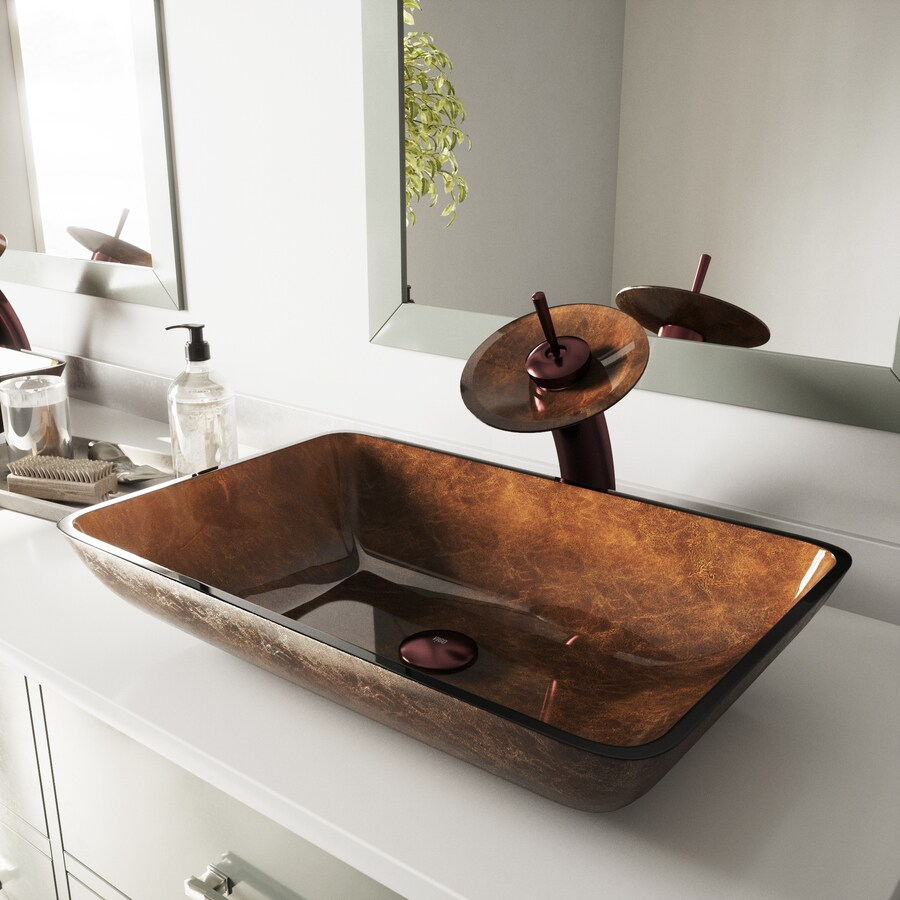 VIGO Russet Glass Vessel Rectangular Bathroom Sink
