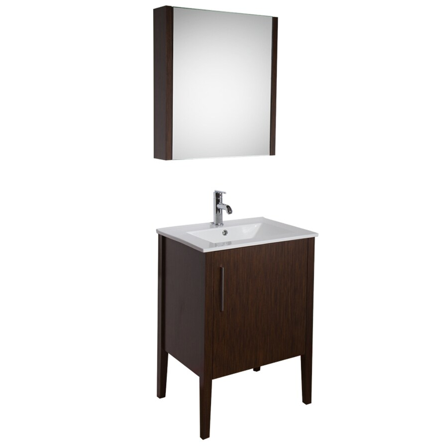 Shop Vigo Maxine Wenge Integral Single Sink Bathroom Vanity With Vitreous China Top Common 24