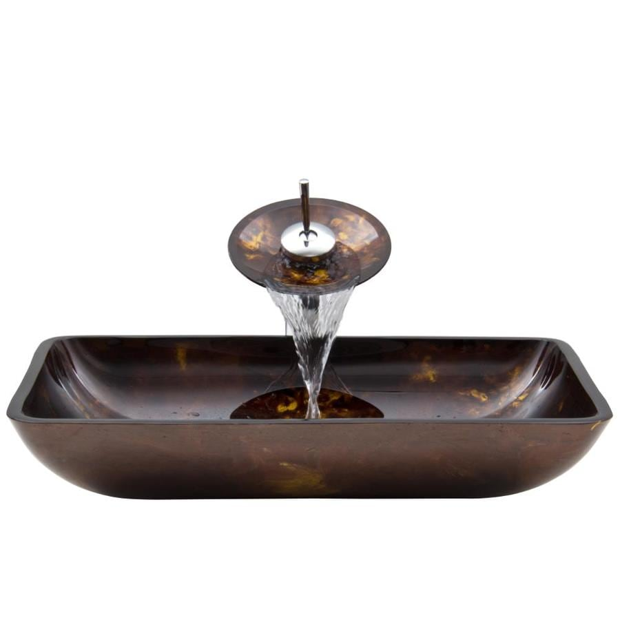 Shop VIGO Brown and Gold Fusion Glass Vessel Bathroom Sink with Faucet ...
