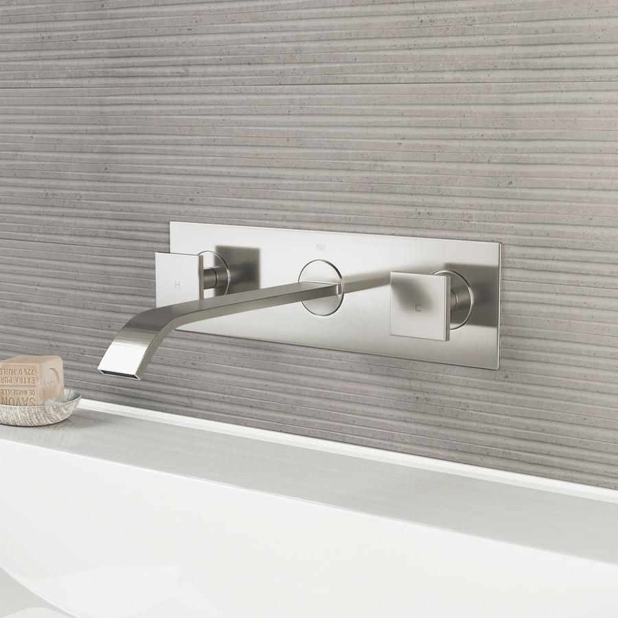 VIGO Brushed Nickel 2-Handle 4-in Centerset WaterSense Bathroom Faucet