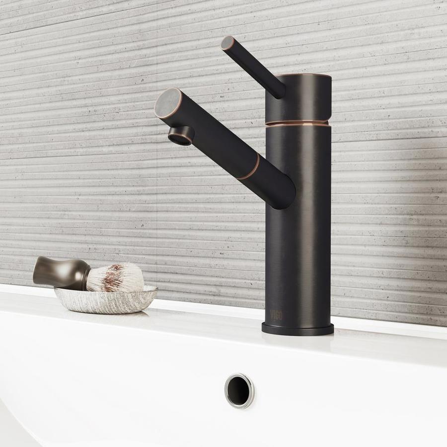 VIGO Noma Antique Rubbed Bronze 1-Handle Single Hole WaterSense Bathroom Faucet (Drain Included)