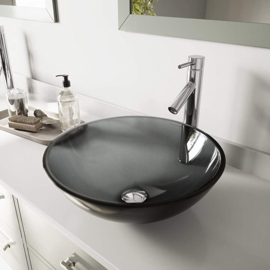 Vigo Vessel Sink Sheer Black Glass Vessel Round Bathroom Sink With Faucet Drain Included 16 5 In X 16 5 In In The Bathroom Sinks Department At Lowes Com