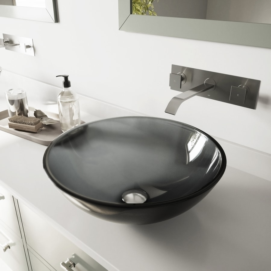 VIGO Black and Brushed Nickel Glass Vessel Bathroom Sink with Faucet (Drain Included)