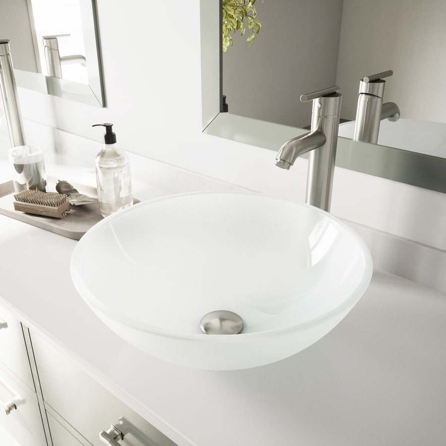 White Frost and Brush Nickel Glass Vessel Bathroom Sink with Faucet (Drain Included) Product Photo