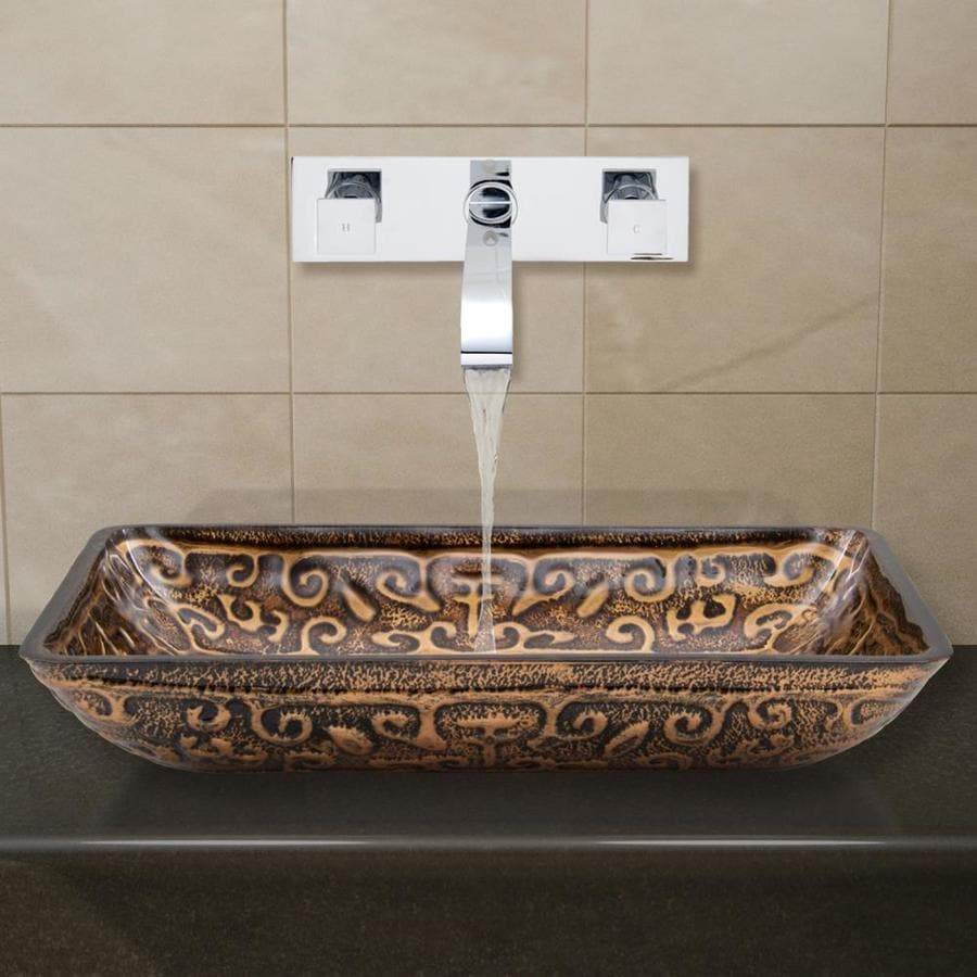 VIGO Vessel Bathroom Sets Brown and Amber Tempered Glass Vessel Rectangular Bathroom Sink with Faucet (Drain Included)