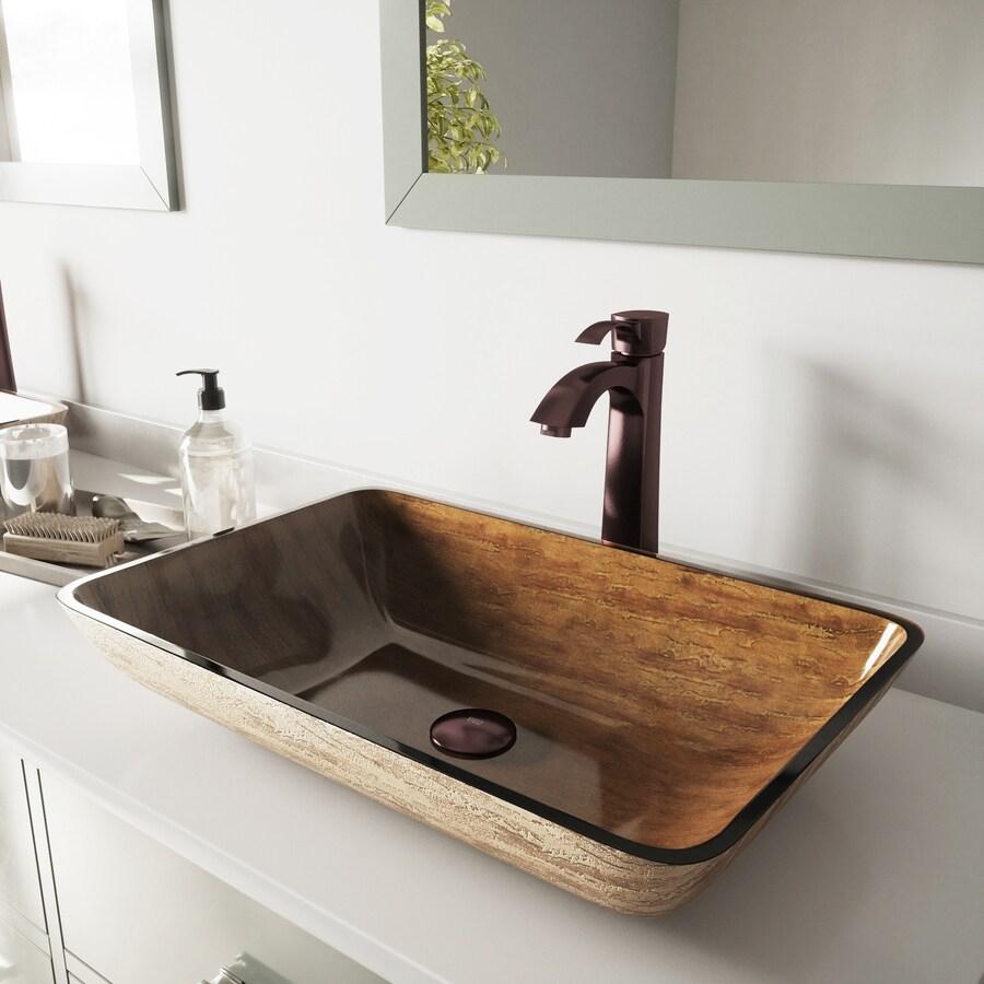Shop Vigo Amber Sunset Glass Vessel Bathroom Sink With