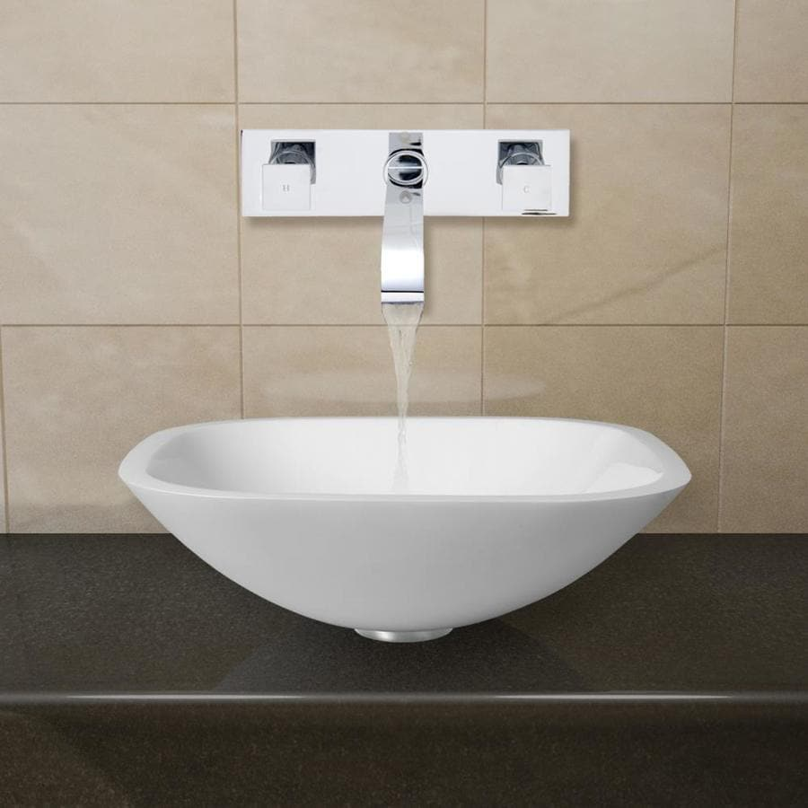 VIGO Vessel Bathroom Sets White Glass Vessel Square Bathroom Sink with Faucet (Drain Included)