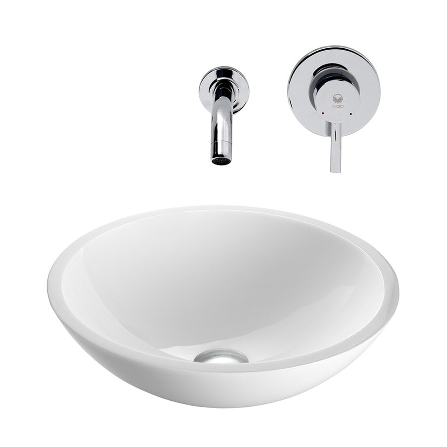 VIGO Vessel Bathroom Sets White Glass Vessel Round Bathroom Sink with Faucet (Drain Included)