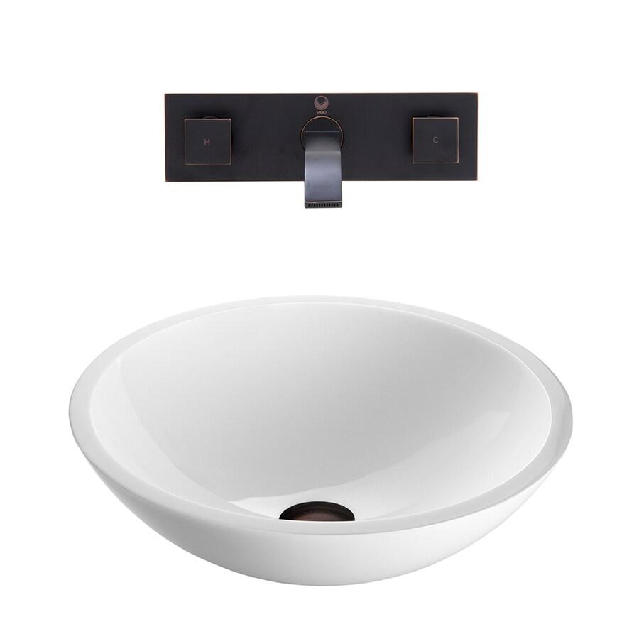 VIGO Vessel Bathroom Sets White Glass Vessel Round Bathroom Sink with Faucet (Drain Included)