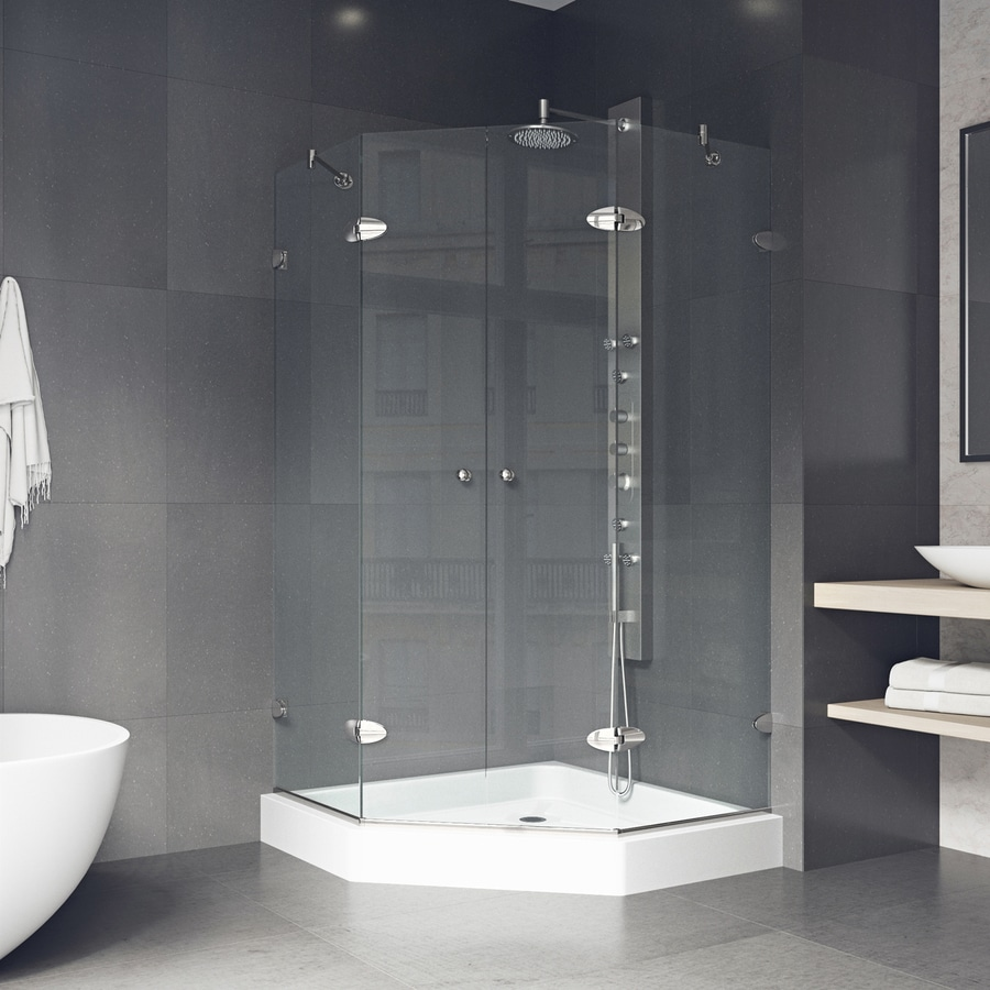 VIGO Neo-Angle Shower Enclosure 47.625-in W x 78-3/4-in H Brushed Nickel Frameless Neo-Angle Shower Door