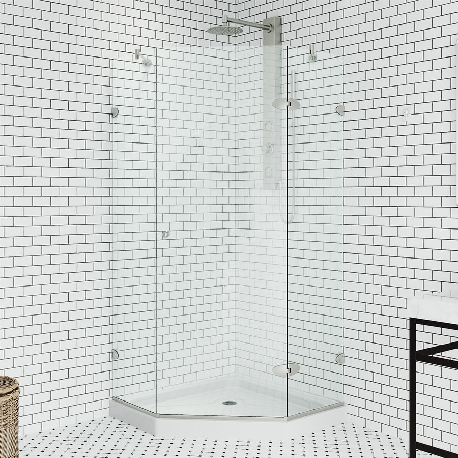 VIGO Neo-Angle Shower Enclosure 38.125-in W x 76-3/4-in H Frameless Neo-Angle Shower Door