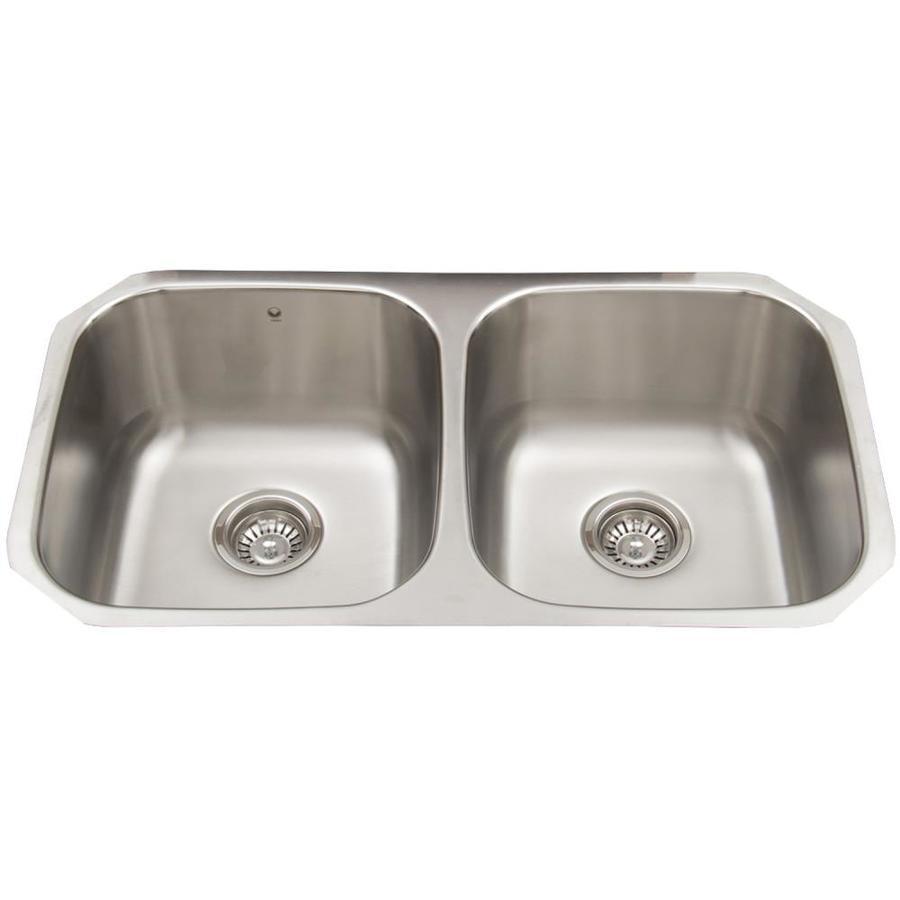 VIGO 32.25-in x 18.5-in Stainless Steel Double-Basin Undermount Commercial Kitchen Sink