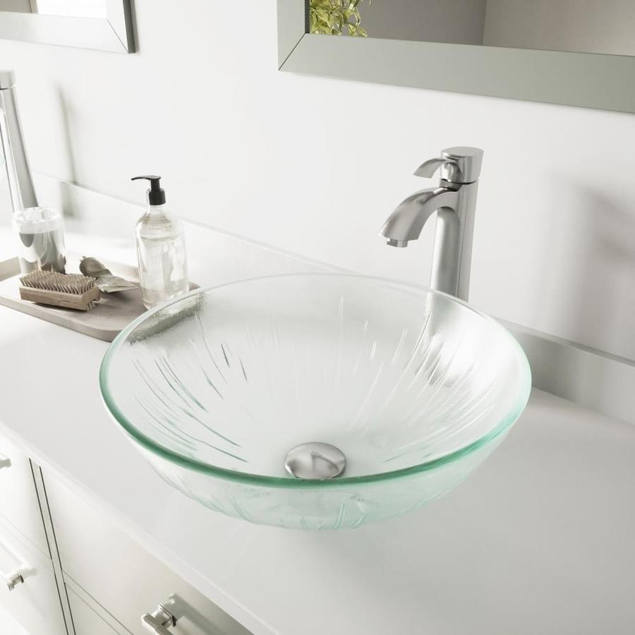 Shop Vigo Glass Sink And Vessel Faucet Set Clear Glass Vessel Bathroom Sink With Faucet Drain
